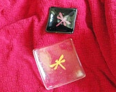 Color changing Dichroic Dragonfly - square fused glass dish (1284-5)