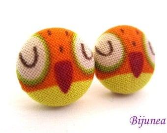 Owl earrings - Orange owl earrings - Owl stud earrings - Owl studs -White Owl posts - Owl post earrings sf1116