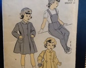 1950s Sewing Pattern Toddler Coat, Hat, Leggings Advance 5260