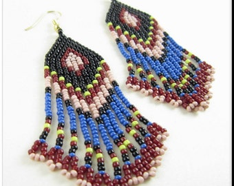 Native American Inspired Beadwork Seed Bead Earrings in Multicolored Fringe