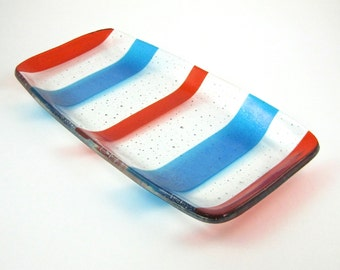Orange and Turquoise Striped Glass Serving Dish - Striped Fused Glass Serving Plate