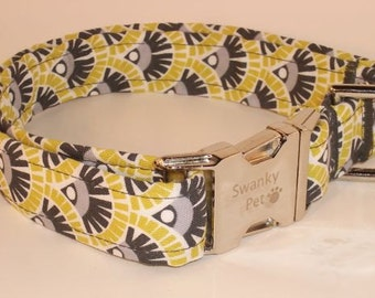 Citron Art Deco Dog Collar by Swanky Pet