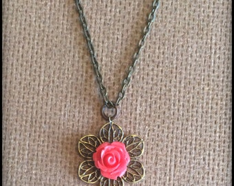 Red Rose Cabochon Filigree Flower and Vintage Pearl Bead Necklace