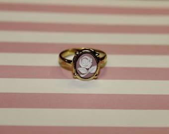 Tiny Mauve Rose Gold Cameo Ring