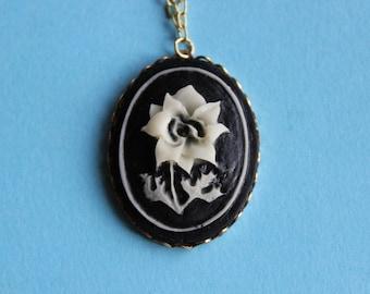 Vintage Black Flower Cameo Necklace