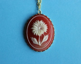 Vintage Red Flower Cameo Necklace