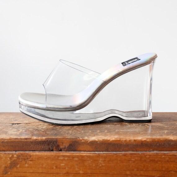 vintage 90s clear plastic wedges platform grunge sandals