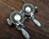 SALE - Wire wrapped oxidised sterling silver, labradorite, spinel and pearl gemstone cluster chandelier earrings - ANEMONE