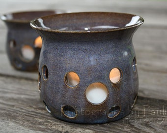 CLEARANCE SALEStorm Blue Hand Thrown Ceramic Luminary