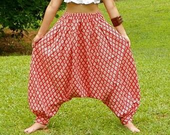 SALE Vintage Orange Harem Pants Coral Floral Print Harem Indian Bollywood Pants Cotton Harem Pants MC Hammer Pants Size Large