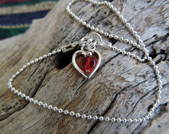 Fun Anklet with Open Heart/Acrylic Red Heart Sterling Silver