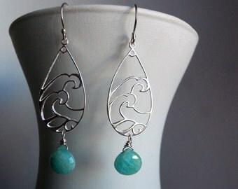 Wave Earrings, Sterling Earrings, Blue Earring, Amazonite earrings