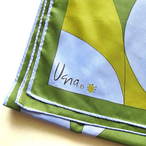 vintage vera scarf ladybug logo mod geometric in olive and