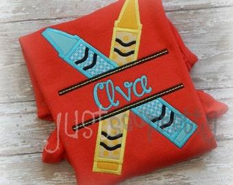 Split Crayons Embroidery Applique Design