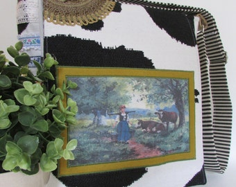 Messenger Bag satchel over the shoulder bag book bag school bag cow themed vintage ribbon and handcrocheted detail eclectic exclusive design