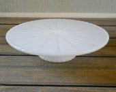 Vintage Milk Glass Low Cake Stand