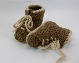 Baby Booties  Combat Hiking or Work Boots Crochet Baby Shoes Military Medium Brown