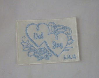 Wedding Dress Label. Wedding Dress Labels. Wedding Dress Patch. Something Blue Wedding Patch. Double Heart Floral