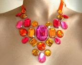 Bright Orange and Pink Floating Rhinestone Necklace, Colorful Rhinestone Illusion Necklace,Pink and Orange Statement Necklace