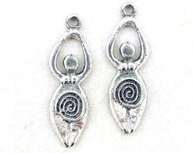 Pair of Pewter Celtic Goddess Charms