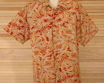 Vintage Izod Hawaiian Print Shirt Size L ch 54