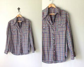 Vintage WESTERN SNAP Shirt • 1970s Mens Clothing • Gold Thread Plaid Button Up Long Sleeve Blue Green Checkered • Unisex Guys Medium Large