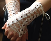 Lace Petite Fleur Corset Cuffs  Victorian Steampunk Wrist Warmers  Design Your Own Lace Fingerless Gloves Gothic Lolita Elegant Gauntlets