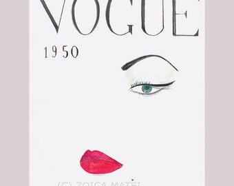 Watercolor Vogue Face 1950 Fashion Illustration, Vogue Cover, Red Lips Print, Vintage Vogue Print, Girls Room Fashion Poster