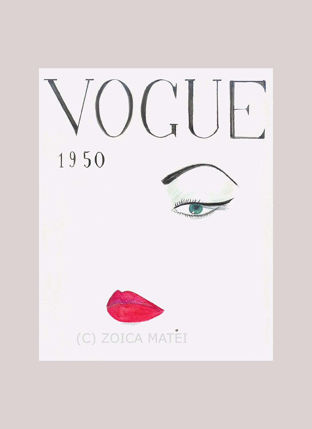 Watercolor vogue face 1950 fashion illustration vogue cover zoom amipublicfo Gallery