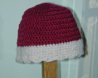 Soft Crochet Chemo Cap Hat Beanie Raspberry