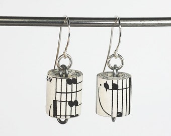Paper Bead Earrings- Upcycled Sheet Music Paper Bead Jewelry, Music Jewelry, Paper Jewelry by Tanith Rohe