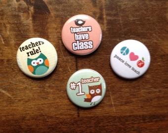 Teachers Rule Pinback Buttons set of 6