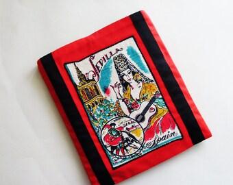 Sevilla Spain Linen iPad Case / Red - Turquoise - Gold - Black - Cream / Padded - Lined Sleeve / Vintage Linen Trim / OOAK Gift Under 30