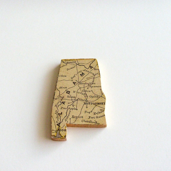 Alabama Brooch - Lapel Pin / Upcycled Antique 1907 Rand McNally Wood Piece / Unique Wearable History Gift Idea / Timeless Gift Under 50