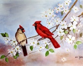 Cardinals and Dogwood Watercolor Red Bird Flower Print by Arie Reinhardt Taylor