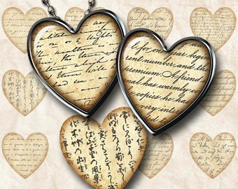 Digital Collage Sheet Vintage Handwriting and Hearts Instant Download H100