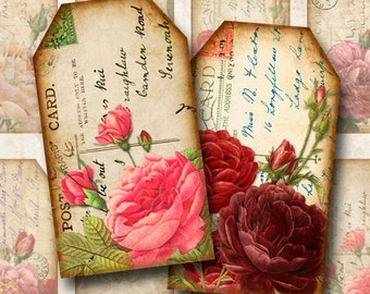 Digital Collage Sheet Vintage Postcards and Roses Double-sided Tags Gift Tags Instant Download TG124