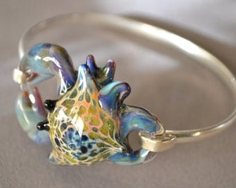 Blue Crab  Bracelet on Silver Cuff bracelet