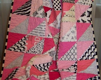 Modern Pink and Black HST Baby Girl or Toddler Quilt