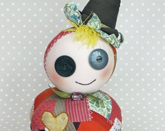 Patch Pumpkin Witch Podgy Patchwork Art Doll