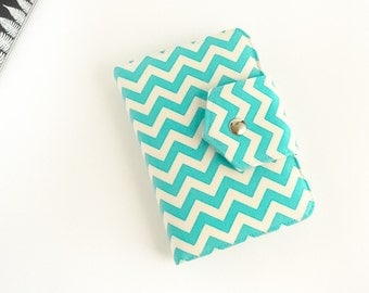 Passport Wallet , Travel Wallet, Organizer for Two (2) OR Four (4) Passports in Aqua Chevron -  MADE To ORDER