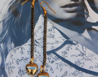 Gold Heart Gun Metal Chain Earrings, modern dangly earrings by Stjern on Etsy