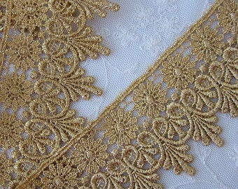 1 yd 31 Inches Vintage Chic Metallic GOLD Daisy Flower Leaf Lace Holiday Belly Dancer Bridal Costume