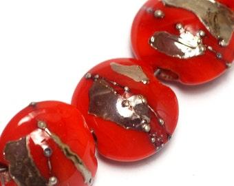 Seven Electric Orange Metallic Lentil Beads-10705002-Handmade Lampwork Glass