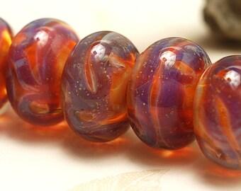 Handmade Glass Lampwork Bead Sets - Six Orange & Purple Rondelle Beads 10601601