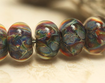 Handmade Glass Lampwork Bead Sets - Six Purples & Yellow Rondelle Beads 10408101