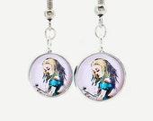 Alice In Wonderland Silver Earrings Pendant Hook Dangle Lewis Carroll