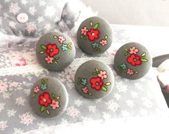 Handmade Small Gray Grey Pink Red Rose Floral Flower Fabric Covered Buttons, Flat Backs, 0.8 Inches 5's