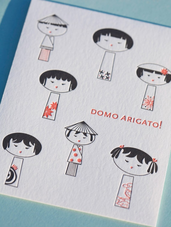 Box of 6 Letterpress Thank You Cards, Domo Arigato