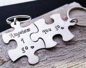 Hand Stamped Puzzle Keychains - Anywhere I go - His and Hers Gift Set